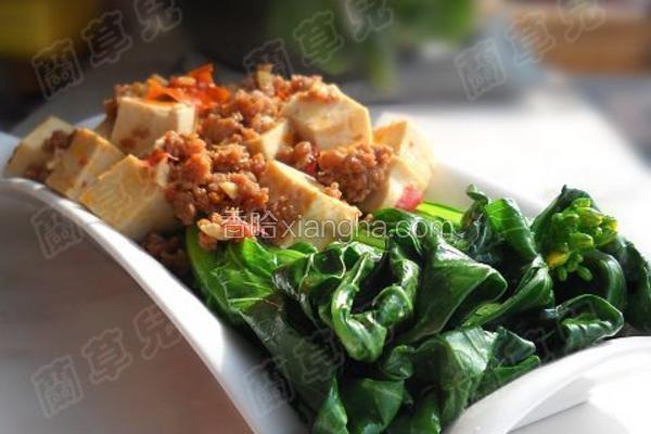 菜心肉末豆腐