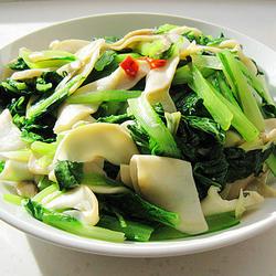 小白菜炒杏鲍菇的做法[图]