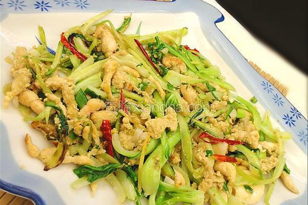 青菜梗炒豆丹