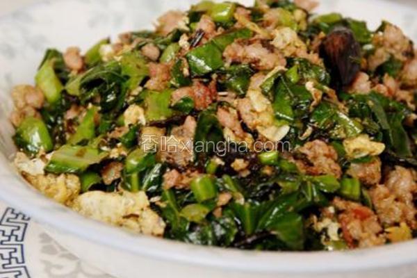 榄菜肉末炒芥兰叶