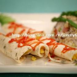香椿饼卷蛋配春笋干贝三米饭的做法[图]