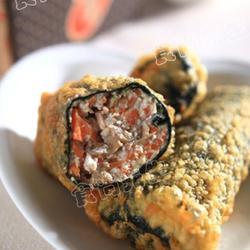 炸鲜虾豆腐紫菜卷的做法[图]