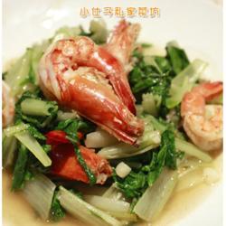 小白菜烩草虾的做法[图]