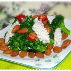 西藍花鮮魷魚拌杏仁的做法[圖]