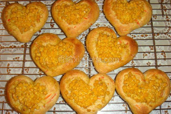 寒天玉米爱心面包