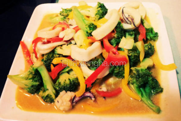 葡汁蔬菜炒墨鱼