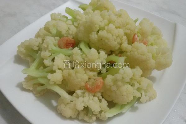 白花椰炒金钩虾