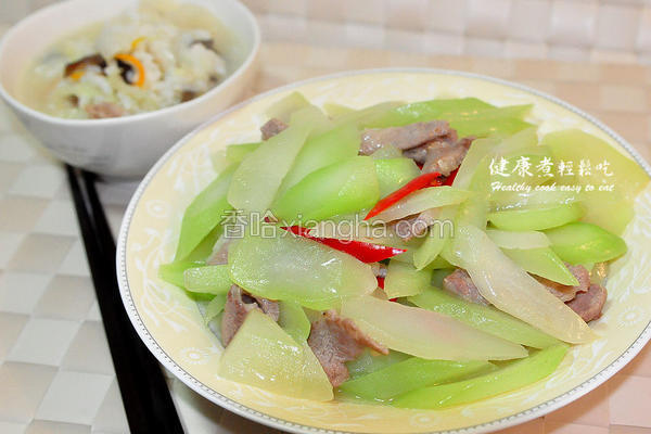肉片炒菜心