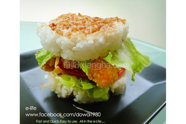 鱼柳青蔬米汉堡