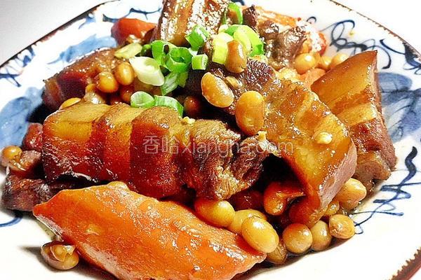 黄豆红烧肉