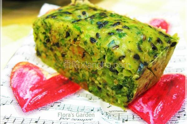 坚果菠菜蒸蛋糕