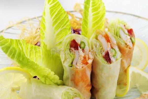 米纸松叶蟹鲜蔬卷