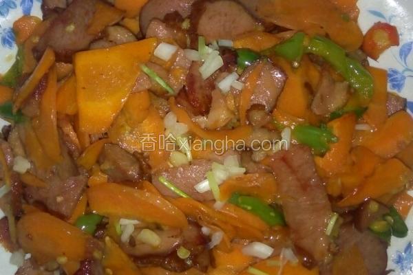 葫萝卜炒卤鸭肉