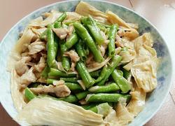 蒜蓉豇豆腐竹炒肉片