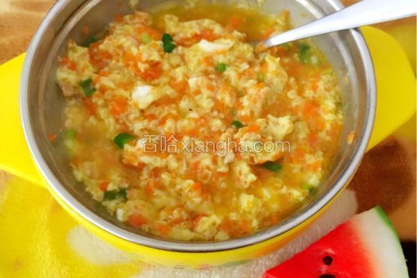 胡萝卜鸡蛋米汤羹(宝宝食谱)