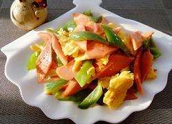 青椒炒鸡蛋火腿片