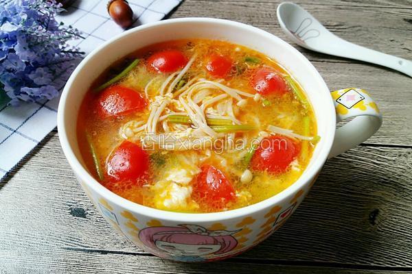 圣女果金针菇鸡蛋汤
