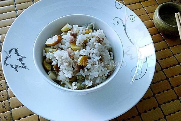 腊肠板栗大米饭