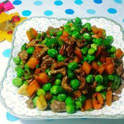 豌豆胡萝卜炒牦牛肉