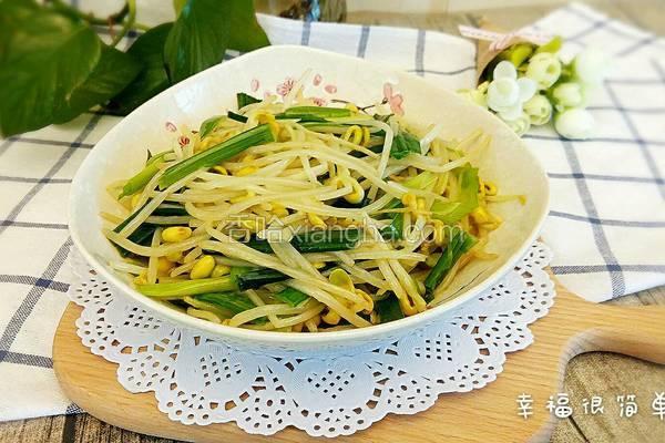 豆芽菜炒青蒜