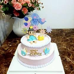 翻糖装饰淡奶油双层蛋糕的做法[图]
