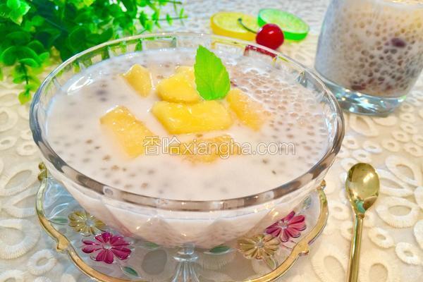椰汁芒果红豆西米露