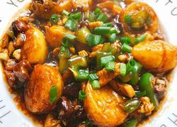 青椒香菇鸡丁烩日本豆腐
