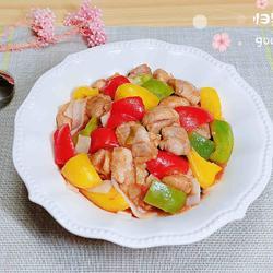 彩椒鸡丁炒酿皮(10分钟快手菜)