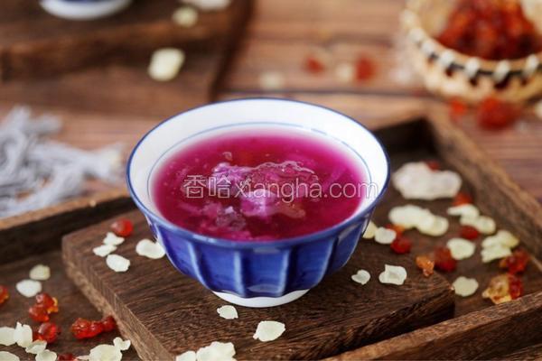 桃胶皂角米雪燕紫薯羹