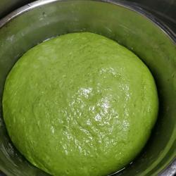 绿色面团制作与发酵的做法[图]