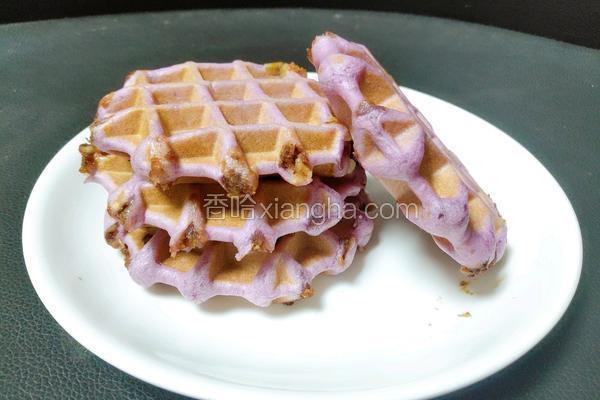 紫薯豆沙麻薯华夫饼